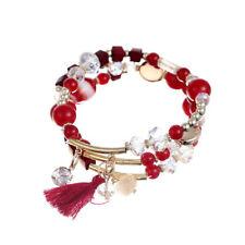 Multilayer Beads Crystal Tassel Elastic Bracelet Jewelry Gift for Women Sale