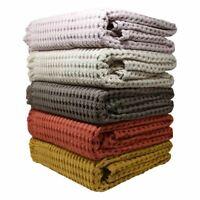Stonewashed Throw Blankets Modern Waffle Sofa Bed Luxury Throws 100% Cotton