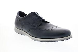 Geox U Blainey Mens Blue Leather Oxfords & Lace Ups Wingtip & Brogue Shoes