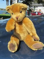"VINTAGE MOHAIR TEDDY BEAR 13"" BUTTERSCOTCH ARTIST BUGGINS NORFOLK ENGLAND UK"