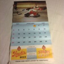 Vintage 1981 STROH'S BEER Collectible Calendar Advertising Detroit RARE
