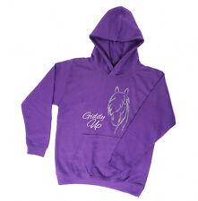La vendita carote per Bambini Cavallo/Pony Design Sparkle Felpa con cappuccio-viola età 12-13yrs