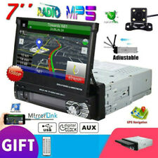 "Singal 1Din 7"" Filp Out Car Stereo Radio MP5 AUX/USB/BT Mirror Link-GPS + Camera"