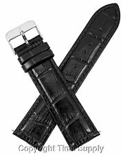 22 mm BLACK LEATHER WATCH BAND CROCO WITH SPRING BARS
