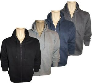 Men's Plus Sizes Plain Fleece Hoody Poly Cotton Full Zip Hooded Tops 3XL to 5XL