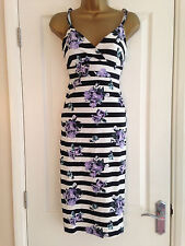 Lipsy Black White Stripe Lilac Floral Strappy Body Con Dress UK Size 4