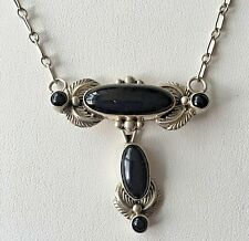 """Vintage Onyx And Silver Choker Necklace 17"""""""