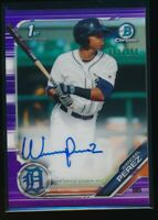 WENCEEL PEREZ AUTO 2019 Bowman Chrome Autograph PURPLE REFRACTOR #/250 Rookie RC