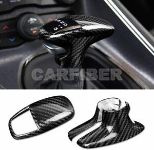 Carbon Fiber Gear Shift Knob Cover Trim For Dodge Challenger Charger 2015-2020