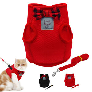 Mesh Cat Dog Harness and Leash Cute Bowtie Kitten Walking Jacket Red Black S M L