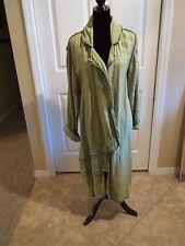 CYNTHIA ASHBY  ~ Very Long Linen Green Swing Duster Jacket Coat Size Medium