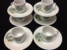 Cuban Espresso coffee cup set. 12 pc cup and saucer Tacita with palmas cafesito
