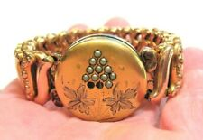 ANTIQUE GOLD FILLED SEED PEARL SWEETHEART BRACELET WITH LOCKET FRONT