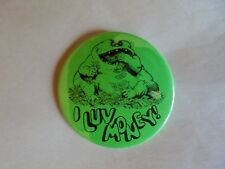 Humorous Vintage Money Eating Monster I Luv Money Pinback Button