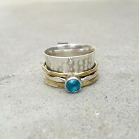 Blue Topaz Stone Solid 925 Sterling Silver Spinner Ring Meditation Ring Size sr1