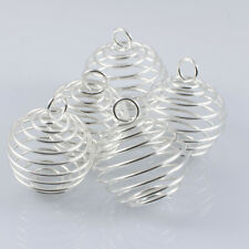 Silver Plated Spiral Cages Large Bead Gemstone Crystal Stone Jewellery x10  25mm