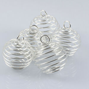 Silver Plated Spiral Cages Large Bead Gemstone Crystal Stone Jewellery x 5  30mm