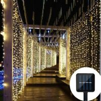 Solar Power Curtain Lights Fairy String Christmas Wedding Party Garden Home Deco
