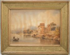 Old Master Painting European Landscape Watercolor with Castle Ruins, Nice!