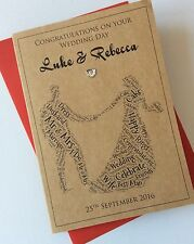Handmade Personalised Wedding Day Card: Word Cloud Couple Mr And Mrs