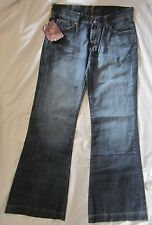 NWT 7 For All Mankind DOJO FLARE Women's 29 X 33 Distressed Jeans Diamond Pocket