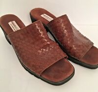 "9.5M Easentials by Etienne Aigner Women's Brown Leather Woven Slide Sandals ""Isl"
