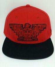Mens Chicano Lowrider Red Hat Aztec Bird Custom Design snapback Black & Red