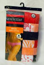 New Women's MEDIUM Size 6 Joe Boxer 6-pack 100% Cotton Bikini Panties Assorted