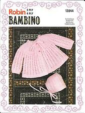 "Robin 13044 Vintage Knitting Patterns Baby Matinee Coat Bonnet 3/4 ply 18-20"""