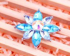 Handmade rainbow rhinestone flower chunk snap button fit 18mm bracelet j3306