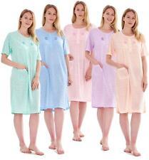 New Ladies Nightdress Polka Dot Print Short Sleeve Pocket Rich Cotton Nightshirt