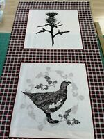 cotton fabric Panel quilting Freedom Fabric Highland Thistle Grouse Game Bird