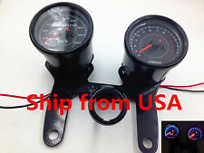 Black LED Motorbike Tachometer Tacho Gauge Odometer Speedometer Custom CB VT VN