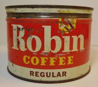 Vintage 1950s ROBIN COFFEE BIRD GRAPHIC COFFEE TIN ONE POUND St. Louis Missouri
