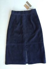 NWT $395 Jcrew 00 Collection A-Line Midi Skirt in Suede Navy Blue Womens  E5285