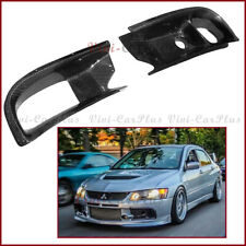 Fit On 06-07 Mitsubishi EVO 9th Carbon Fiber Front Air Duct Fog Lamp Cover Pair