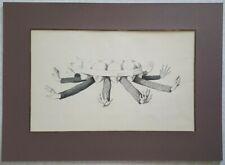 Dessin encre plume noire Jean Gourmelin (1920-2011) scène fantastique tête bras