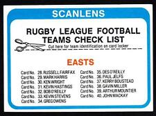 SCANLENS 1979 EASTS CHECK LIST UNMARKED