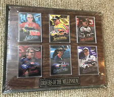 "NASCAR  13"" By 10 1/2"" Wooden Plaque Features 6 Top Drivers Man cave Cards"