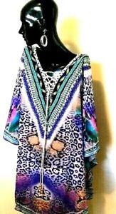 Kaftan short 85cm / Embellished /Non Sheer / Beaded Ties / Free Size/ RR$149.95