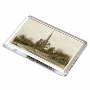 FRIDGE MAGNET - Vintage Leicestershire - Gardens and Church, Hinckley