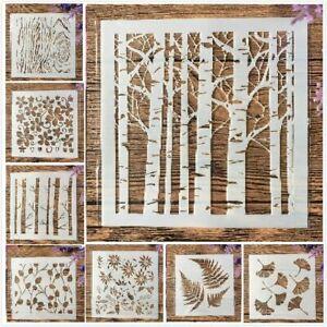 8Pcs Tree Leaf Bud DIY Layering Stencils Painting Scrapbook Color Template Decor