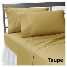 Luxury Quality 2 pc Pillow Case Set Egyptian Cotton King Size Taupe Solid
