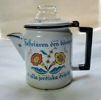 Vintage Swedish Berggren Porcelain Enamelware Coffee Pot Percolator Folk Art