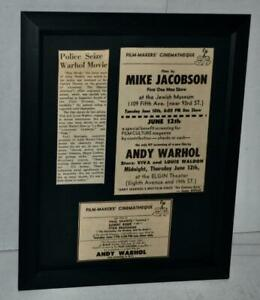 ANDY WARHOL 1969 ULTRA RARE BLUE MOVIE PREMIERE ADS W / ARTICLE FRAMED ADS RARE