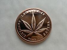 1 oz .999 Fine Copper Coin / Round (2014) Cannabis Legalize It