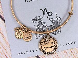 NEW Alex and Ani Capricorn II Zodiac Charm Gold Bracelet W/Card