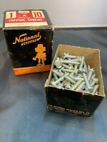 """VTG 1940s NATIONAL PRODUCTS SCREW A MFG. CO. 1"""" FLAT HEAD WOOD SCREWS IN BOX"""