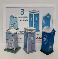 1920s -1950s RAC TELEPHONE BOXES x 3 1/43 SCALE MODEL A5 FULL COLOUR CARD KIT