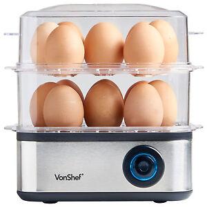 VonShef Egg Boiler Poacher Steamer Cooker Omelette Maker 16 Large Electric